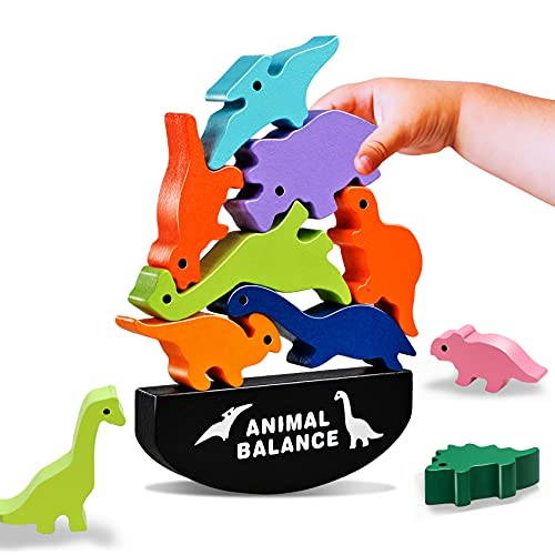 (S365) LODBY Dinosaur Toys for Kids 3-5, Wooden Toys for 3 4 5 Year Old Boys Dinosaur Games, Girls Gifts for 3-4 Year Old Boys Toys,