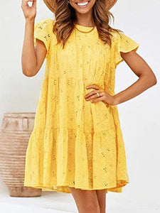 (M514)Miessial Women's Summer Embroidery Round Neck Mini Dress Hollow Out Loose Swing Dress