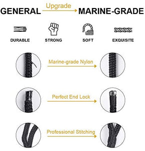 (R3741)GREENEVER Double-Braided Dock Lines - Excellent 5800 lbs Breaking Strength, 24 Strands of Premium Double-Braided Mooring Lines