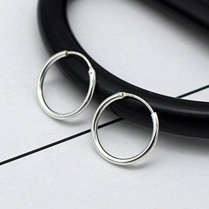 (Q716)Silver Hoop Earrings- Cartilage Earring Endless Small Hoop Earrings Set for Women Men Girls,3 Pairs of Hypoallergenic 925 Sterling Silver Tragus Earrings Nose Lip Rings