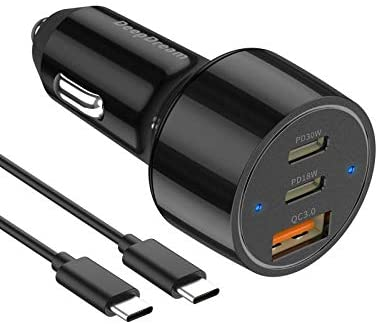 (W959)USB C Car Charger, DeepDream 48W 3-Port Fast PD Car Charger Adapter for iPhone 12/12mini/11/11 Pro/11 Pro Max/XS, Samsung Note 10/S10