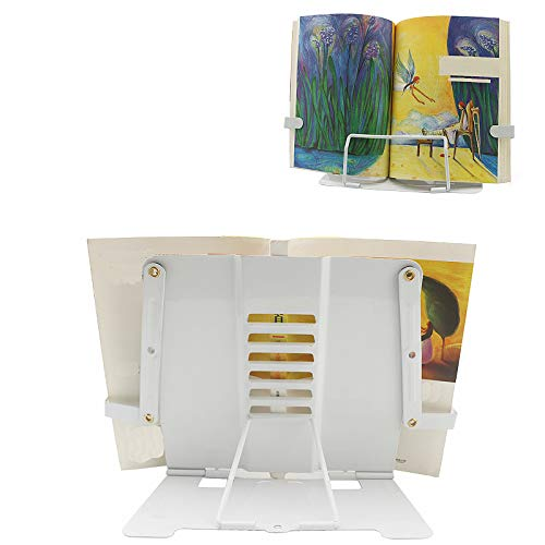 (K161)Cookbook Stand, Desk Book Holder Metal Reading Rest Book Holder Adjustable Documents Holder Portable Sturdy Bookstands for Recipes Textbooks ...