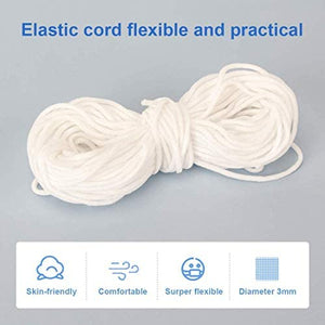 (T533)Elastic Ear Tie Cord String Round Stretchy 0.3mm Earloop Strap Sewing for DIY Craft Handmade Making Stretch Rope Band 100 Yard
