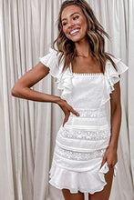 Load image into Gallery viewer, (M550) Narspeer Women's 2021 Summer Lace Bodycon Mini Dress Ruffle Short Sleeves Short Sundress Party Mini Dress