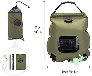 (R722)WEIYII Solar Shower Bag 5 Gallons/20L Hot Water 45°C Foldable Storage Beach Swimming Outdoor Traveling Hiking