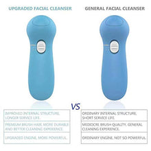 Load image into Gallery viewer, (W123)Waterproof Facial Cleansing Brush and Massager with 5 Brush Heads for Removing Blackhead, Exfoliating and Massaging (Light Blue)