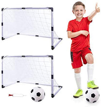 Load image into Gallery viewer, (W476)Dmorun Portable Pop up Easy Fold-Up Soccer Goals Set of 2 with Pump Football,Kids Practice Soccer Target net for Backyard Park or Training Soccer Goal