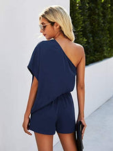 Load image into Gallery viewer, (Y554)Simplee Women's Summer Off Shoulder Romper Elastic Waist Casual Loose Jumpsuits with Pockets
