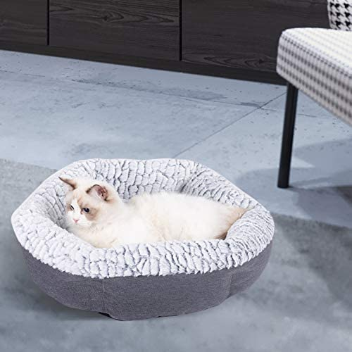 (H207)Cat Bed for Indoor Cats, 21 in Round Machine Washable Pet Bed for All Cats Small Dog, Breathable Linen Ultra Soft Luxurious Plush Pet Bed