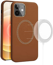 Load image into Gallery viewer, (C045)PU Leather Magnetic Phone Case Compatible with iPhone 12 Shockproof Protective Back Cover Designed for iPhone 12 Pro (6.1 inch) (Brown)