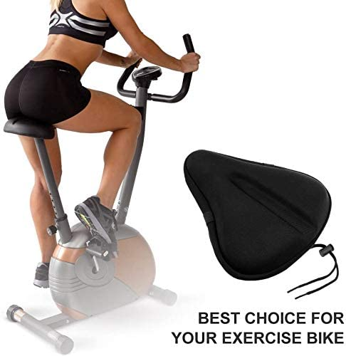 (W753)Oversize Exercise Bike Seat Gel Cover - (10.6 inches x 9.8 inches) Soft & Ventilative Excercise Bicycle Cushion for Bike Saddle, Most Comfortable