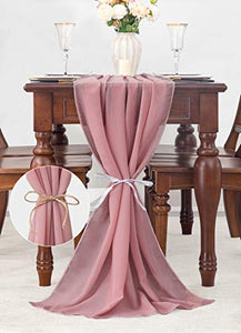 (G335)joybest Dusty Rose 10FT Chiffon Table Runner 27x120 Inches Romantic Wedding Party, Bridal & Baby Shower Decorations