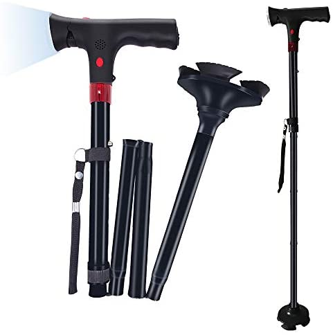 (R602)Lebote Folding Cane with LED Light and Alarm,Foldable Walking Cane for Men,Women,Adjustable Walking Stick with Carrying Bag for Fathers Mothers Gifts