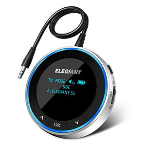 (S8211)ELEGIANT Bluetooth 5.1 Transmitter Receiver Visible, Wireless Audio Adapter Low Latency with OLED Screen Pair 2 Headphones at Once Volume