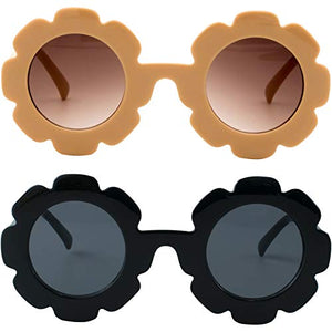 (D992)Sunglasses for Kids Round Flower Cute Glasses UV 400 Protection Children Girl Boy Gifts by ZIRANYU