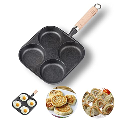 (J477)NEWANOVI Heavy Duty Cast Iron Egg Frying Pan, Non-Stick Frying Pan with 4 Hole Pancake Pan Fried Egg Burger Pan, Compatible with All Heat Sources