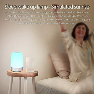 (J063)SOOTOP Alarm Clock Wake up Light, Sunrise Simulation 5 Nature Sounds & 7 Wake-up Modes 7 Different Colors and 3 Levels Warm Light Touch Control