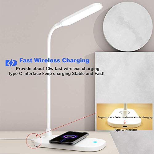 (J092)[2021 New] Fast Wireless Charger+ Night Light/Desk Lamp(Eye-Caring),2 in 1 Multi-Function Wireless Charging Stand/Station with Lamp,Compatible