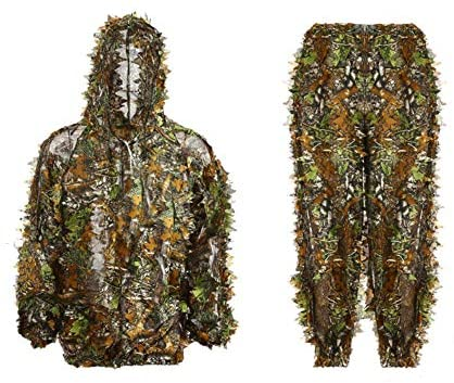 (T942)Ghillie 3D Hunting Suit Bionic Green Leaf Woodland Camouflagesuit, Lightweight Breathable Training Uniform Sniper Hunting Shoot in Jungle Grass