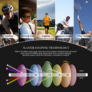 (Q696)JOGVELO Sport Sunglasses Polarized for Men UV400 Protection con 3 Interchangeable Lens for Cycling Running Baseball Golf,
