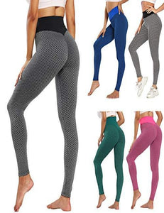 (T028) HOMOST Women's High Waisted Yoga Pants Butt Lifting, Biker Running Leggings Tummy Control Workout Yoga Leggings