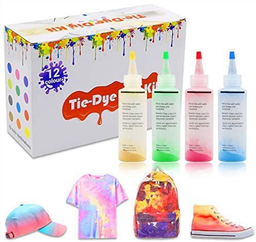 (Q832)Tie Dye Powder, DIY Tie Dye Kits, All-in-1 DIY Fashion Dye Kit,12 Colors Fabric Dye Kit for Kids, Adults and Groups, Non-Toxic Tie Dye Supplies