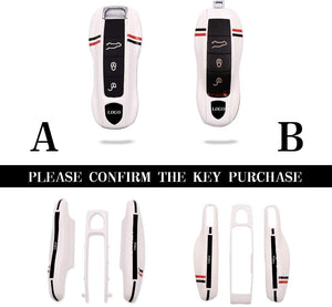 (G184)Car Remote Key cover for Porsche Cayenne Panamera Macan 911 718 971 9YA BOXSTER remote smart key case side shell accessories (White, Style B)