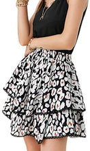 Load image into Gallery viewer, (M519)Glamaker Women's High Waist Leopard Print Layered A Line Mini Skirt Boho Ruffle Pleated Short Skirts