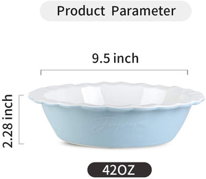 (X039)Joyroom Ceramic 9 Inches Pie Pan, Pie Dish, Pie Plate for Dessert, Round Baking Dish, Letter Collection (Baby Blue)