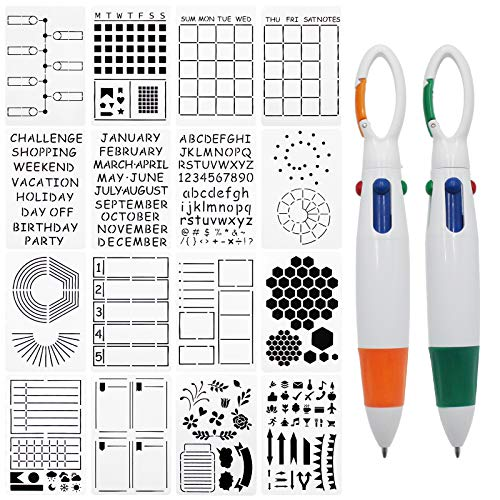 (H0113)LEAMEERY Journal Stencils Set, 16 Pieces A5 Planner Stencils with Two Colored Pens, Templates Planner for Journal Notebook, Diary, Scrapbook DIY