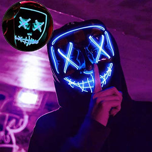 (T372)Halloween Mask Light Up, Halloween LED Scary Costume Mask, Cool Cosploy, EL Wire Horror Mask, Used for Halloween Party, Holiday Party