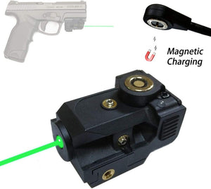 (T509)Tactical Green Laser Sight, New Compact Pistol Laser Fit Standard Picatinny Rail Gun Low Profile Pistol Dot Sight Magnetic Charging Handgun Laser Tactical Sights Airsoft Laser