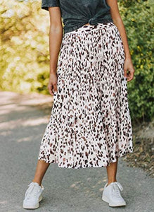 (M534)Simplee Women's Boho Floral Print High Elastic Waist Pleated Long Skirt Leopard Print A Line Flowing Midi Skirts