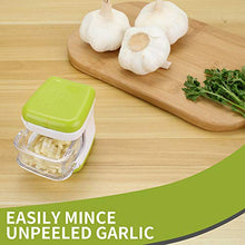 Load image into Gallery viewer, (H0119)LEAMEERY Garlic Press Set Garlic Clove Cube Press Tool - Includes 2 Silicone Garlic Peeler and 2 Cleaning Brush - Easily Slice or Cube Garlic Cloves ...