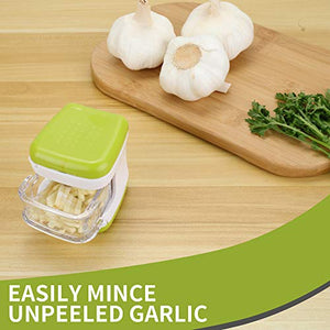 (H0119)LEAMEERY Garlic Press Set Garlic Clove Cube Press Tool - Includes 2 Silicone Garlic Peeler and 2 Cleaning Brush - Easily Slice or Cube Garlic Cloves ...