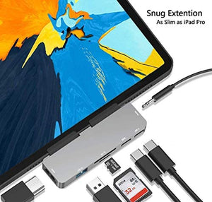 (B804) USB C Hub for iPad Pro 11/12.9 2019/2018 Adapter,7-in-1 Dongle with Aux 3.5mm
