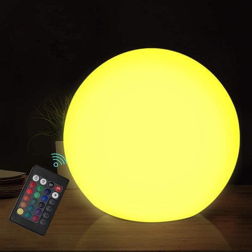 (S281)Chakev LED Floating Pool Light Ball, 6-inch Waterproof Nursery Night Ball with Remote, 16 RGB Color Changing & Dimming Rechargeable Sphere Vibrant Light Ball
