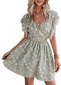(M553) Simplee Women's Summer V Neck Floral Backless Sleeveless A Line Mini Dress Ruffles Layer Short Swing Dresses