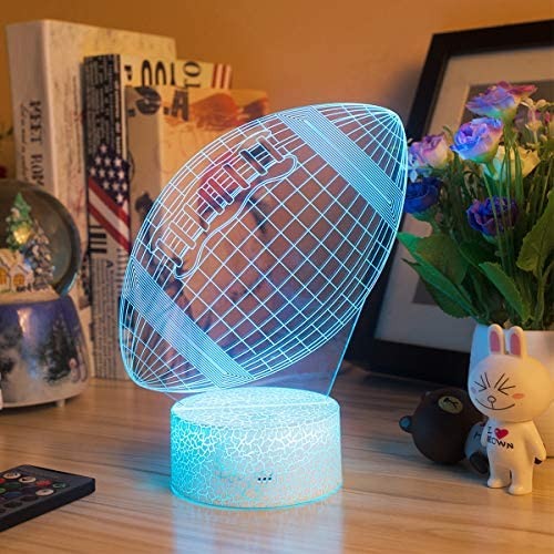 (D517)Football 3D Night Light - 3D Illusion Lamp for Boys 16 Changing Color Remote Control Football Kids Room Decor Lighting - with Charger
