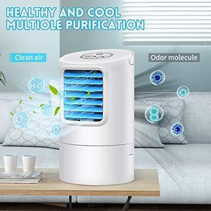 (M1712)Air Conditioner Fan, Portable Air cooler Small Desktop Fan 3 Degree Changeable Angle Adjustable Compact Super Quiet Personal Table Fan