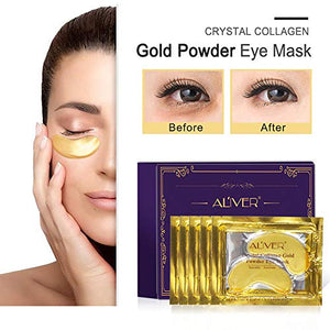 (T524)Under Eye Collagen Patch, 24K Gold Anti-Aging Mask, Pads for Puffy Eyes & Bags, Dark Circles and Wrinkles, with Hydrogel, Deep Moisturizing Improves elasticity