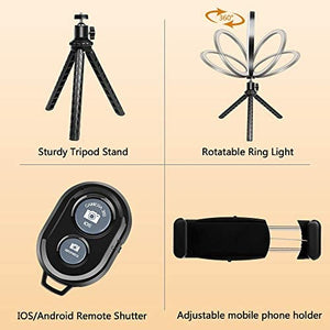 "(C656)Selfie Ring Light Tripod, 10"" Ring Light with Stand and Phone Holder"