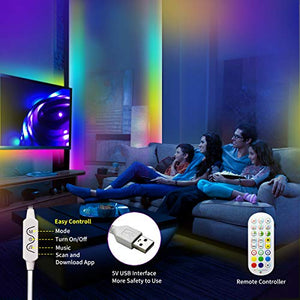 (J561) LED Strip Lights 16.4ft for Bedroom DAYMEET Color Changing Music (Sync with Segmented Individually by App Control