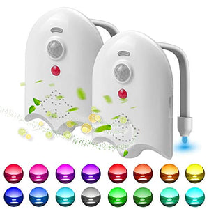 (J780)2 Pack Light Up Toilet Night Light Motion Sensor 16 Colors, Rechargeable Led Toilet Bowl Night Light Motion Activated W/ Aromatherapy Tablets, ...