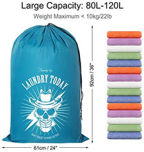 "Load image into Gallery viewer, (T900)ZERO JET LAG 2 Pack Extra Large Travel Laundry Bag Set Nylon Rip-Stop Dirty Storage Bag Machine Washable Drawstring Closure 24"" x 36"""