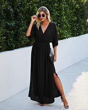 Load image into Gallery viewer, (M552) Simplee Women's Cotton V Neck Split Maxi Dress High Elastic Waist Flowing Long Dresses Formal Party