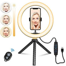 "Load image into Gallery viewer, (C656)Selfie Ring Light Tripod, 10"" Ring Light with Stand and Phone Holder"