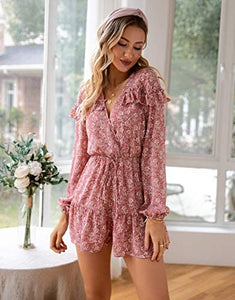 (M547) Narspeer Women's Summer Floral Ruffle Short Jumpsuit Boho Casual V Neck Long Bubble Sleeve Romper Playsuit