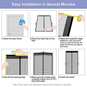 (V233)agnetic Screen Door for Sliding Glass Door innhom Screen Doors with Magnets, Door Screen Magnetic Closure, Fiberglass Heavy Duty...
