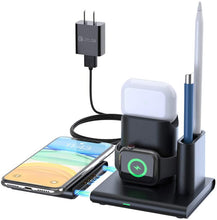 Load image into Gallery viewer, (T335)Wireless Charger, FAPO 5 in 1 Qi-Certified Wireless Charging Station Compatible Apple Watch & AirPods 1/2/3 & Apple Pencil, iPhone 11/11 pro/11 Pro Max/XS Max/XR/X/8/8 Plus, (QC 3.0 Adapter Included)